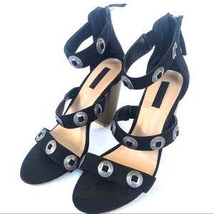 Forever 21 Boho Embellished Strappy Block Heels